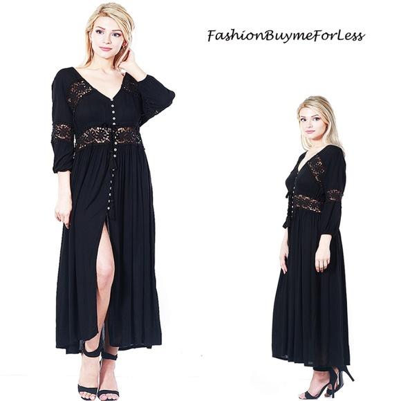 Gypsy Victorian Eyelet Crochet Maxi Peasant Dress 2465f6c03